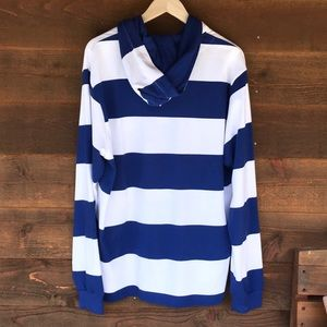 Charles River Shirts - Charles River Blue White Striped Hooded Rugby